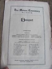 1910 Des Moines Consistory No.3 A.A.S.R. Banquet Pamphlet-Original