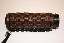 Custom Dark Brown Leather Hand Tooled Basket Weave Grip Covers For Motorcycles