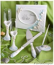 Beach Theme Guest Book Pen Toasting Flutes Cake Server Wedding Set