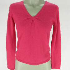 Talbots Womens Sweater Petites Small Hot Pink Cashmere V-Neck Long Sleeve