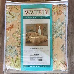NEW Waverly 4 Piece Set KING Quilt Pillow Shams Bedskirt CAPE CORAL