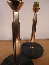 Luminaire Vintage 50 Superbe paire de lampes Bronze Doré-Granité Noir. Non Signé