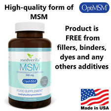 120 caps 500 mg Opti MSM Organic Sulfur PURE- ADDITIVE FREE Joint Health Support