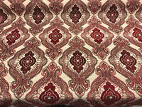 Fabricut Sardinia Chenille Ruby Upholstery Tapestry Damask Fabric by the yard