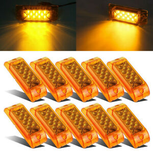 """10x 6""""x 2"""" Amber 13-LED Reflective Rectangle Clearance Side Marker Light Trailer"""