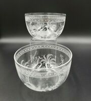 Set Of 2 Antique Gray Cut Vine Swirls Fern Leaves Crystal Nappy Bowls EXCELLENT