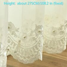 Beads Floral Embroidery Guipure Lace Mesh Fabric Curtain Panel Drape Divider