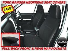 FORD RANGER PX1 PX2  FULL-BACK FRONT&REAR NEOPRENE SEAT COVERS - MAP POCKETS X 2