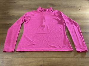 Under Armour HeatGear 1/2 Zip Long Sleeve Pullover Top Pink Womens M NWOT