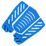 3pcs Blue Surfboard Skimboard Traction Pad Tail Pad Deck Grip Accessory