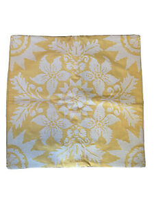 NEW Pottery Barn Golden Yellow Pillow Cover Embroidered Floral  20' X 20""