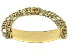 "14k Yellow Gold 8"" ID Double Figaro Pave Double Link Chain Bracelet 8"" 31.3grams"