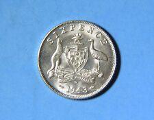1943 D Australia George VI Six 6 Pence Silver Coin BU Brilliant Uncirculated WW2