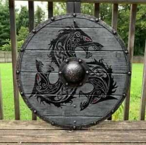 Mittelalterlicher Kriegerschild Stahl Wikinger Runder Schild Rüstung Schild