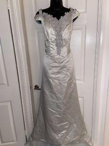 The House Of Nicholas Vintage Silver Bridal Prom Wedding Maxi Dress Size 18