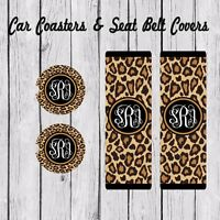 Monogram Seat Belt Pad Cover, Car Coaster, Personalized, Cheetah Gold Black