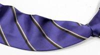 * VALENTINO * Blue Twil Striped 100% Silk Made in Italy Luxury Necktie