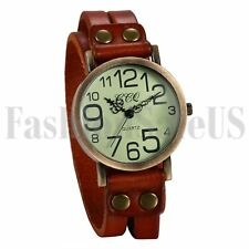 Mens Women's Retro Braided Leather Bracelet Band Digital Dial Quartz Wrist Watch