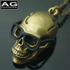 "Skull G with black glasses pendant 32"" steel chain necklace US SELLER"