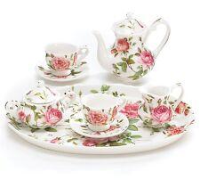 SADDLEBROOK MINIATURE PINK ROSES TEA SET ~ NEW