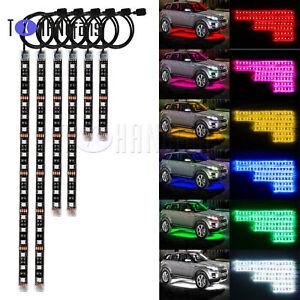 6pcs Motorcycle LED Strip Lights Kit Multi-Color Accent Glow Neon for Car AHS