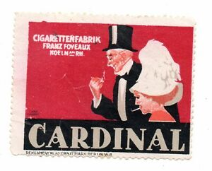 Werbemarke Vignette,Cardinal Cigarettenfabrik Franz Foveaux,Köln a Rhein,Lübbert
