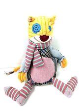 Deglingos Stuffed Cat Patchwork Plush Tactile Designed in France stuffed animal