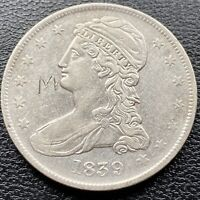 "1839 Capped Bust Half Dollar  50c High Grade AU engraved ""M"" #22147"