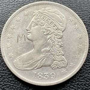 "1839 Capped Bust Half Dollar  50c High Grade AU engraved ""M"" #22147"