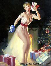 Vintage Christmas Pin-up Girl Shaking a Present - Giclee Art Print
