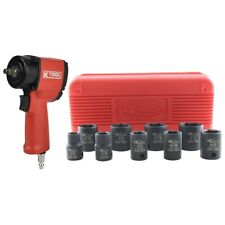 "K Tool 3/8"" Drive Stubby Impact Gun Wrench Kit With Free Sae Socket Set"
