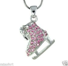 W Swarovski Crystal Charm ICE SKATING Figure Pink Pendant Necklace Gift
