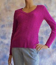 ANN TAYLOR LOFT Acrylic Blend Sz M V Neck Sweater Purple Cable Knit Snuggly!