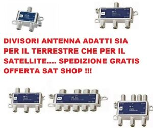 Partitore Divisore Tv Satellitare TERRESTRE 1/2 1/3 1/4 1/6 1/8 CON CONNETTORI F