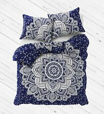 Queen Size Duvet Cover With Pillow Cover Indian Art Flower Ombre Mandala Bedding