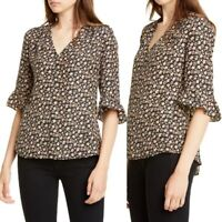 Rebecca Taylor Louisa Floral-Print Silk Top Size 4 MSRP $295
