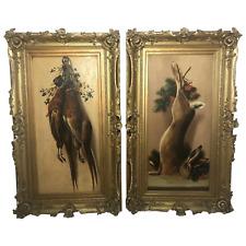Pair Antique Art Oil Paintings Hunt Game Birds Rabbit British School Maud Thomas