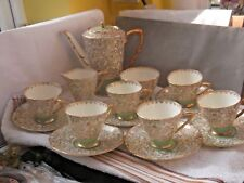 1940 +  ROYAL STAFFORD THOMAS POOLE TEA SET GOLD LEAF AND FLORAL PATTERN