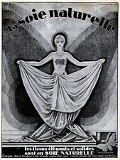 Jacques Leclerc ART DECO Raw Silk SOIE NATURELLE Orig. 1930s French Magazine Ad