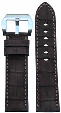 24x22 RIOS1931 for Panatime Mocha Nubuk Alligator Watch Strap with Match Stitch