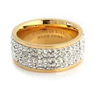QVC Steel by Design Stainless Steel Silk Yellow Gold Crystal Band Ring Sz 5 $170
