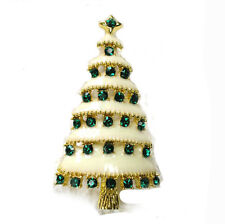 Christmas Tree Collection White & Green Rhinestones Shiny Brooch Pin BR316