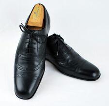 Bally Lace Up Mans Shoes Black Leather Aden 7.5 D Switzerland Cap Toe
