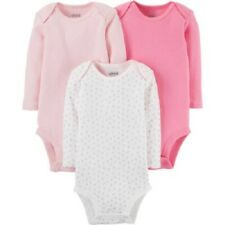 Carter's Baby Girls Basic Long Sleeve 3 Pack Bodysuits 3-6M (Patterns may vary)