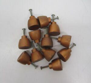 Set 12 Vtg Matte Copper Metal Dresser Drawer Cabinet Pulls Handles Knobs AJAX