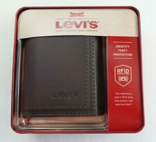 Levi's Mens Trifold Wallet w Zipper RFID Blocking Brown Leather New w Box MRP$30