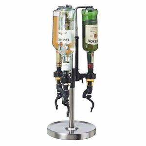 dispensador Despachador bebidas licores 3 botellas acabado cromado Plateado