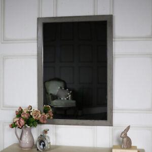 Groß Rustikal Grau Gewaschen Effekt Wandmontage Spiegel Vintage Chic Bad Flur