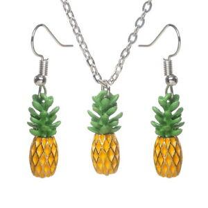 Cute Pineapple Earrings Pendant Necklace Shining Romantic Earring for Girls