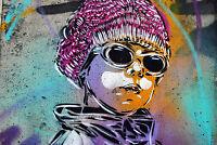 Framed Canvas Print   hip hop boy street art graffiti urban street  licensed